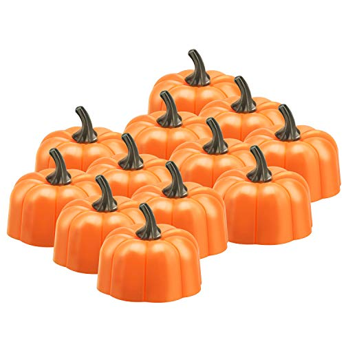 Anpress 12 Pcs Orange Pumpkin Tealights 3D Pumpkin Flameless Candle Light Battery Operated LED Tea Lights for Halloween Christmas Festival Wedding Theme Party, 1.9