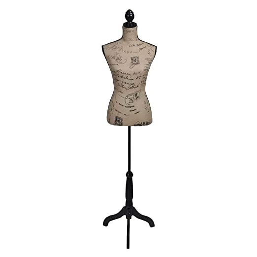 Maniquí de Busto de Señoras femenino Marrón y Negro de Yute