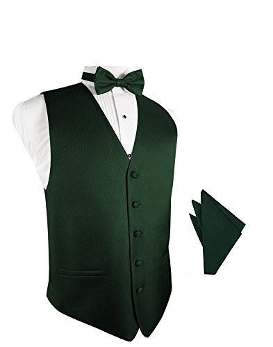 Herringbone Tuxedo Vest (Hunter Herringbone Tuxedo Vest with Bowtie & Pocket Square Set)