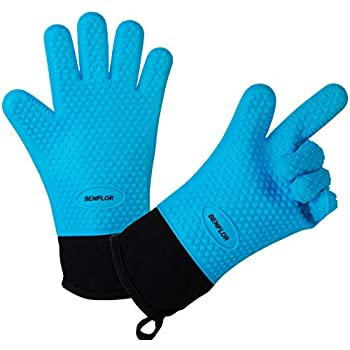 Benflor Grilling Gloves, Double-layer Silicone Gloves with 3.1 Inch Extra Cuff, Cotton Oven Mitt Waterproof Non-Slip for Baking and Cooking, BBQ Heat Resistant Gloves for Grilling - Blue-1 Pair