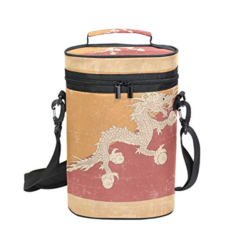 Red Dragon Shoulder Puppet - Chinese Dragon Insulated Wine Tote Carrier - 2 Bottle Travel Padded Wine Cooler Bag with Handle and Adjustable Shoulder Strap