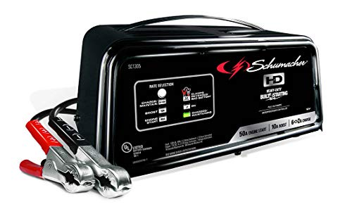 - Schumacher SC1305 12V Fully Automatic Battery Charger and 10/50A Engine Starter