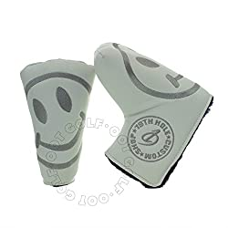 Smile Face Headcover For Blade & Midsize Mallet Putter, White