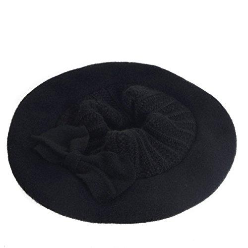 Dame Laine Béret Française Robe Florale Chapeaux D'hiver De Calotte De Noir Bonnet