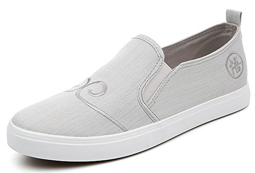 IDIFU Mens Casual Low Cut Slip On Flat Loafers Soft Bottom Walking Boat Shoes Gray Canvas