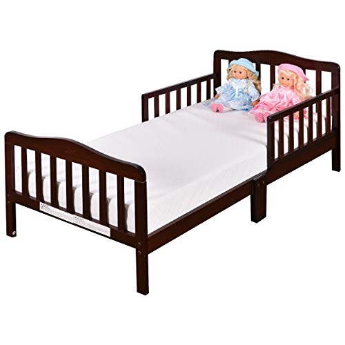 Cherry Toddler Beds - Costzon Toddler Bed, Wood Kids Bedframe Children Classic Sleeping Bedroom Furniture w/Safety Rail Fence (Cherry)