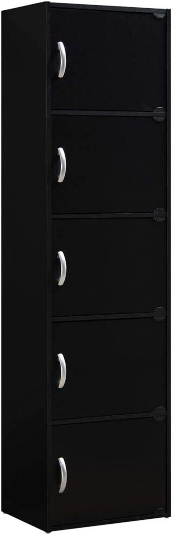 HODEDAH IMPORT 5-Shelf Bookcase Cabinet, Black