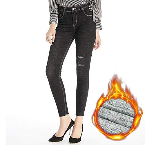 Elasticizzata Scuro Mvguihzpo Fori Donna S Jeans Vestibilità Xl Calda Alti Vita Invernali Blu g0vqTw