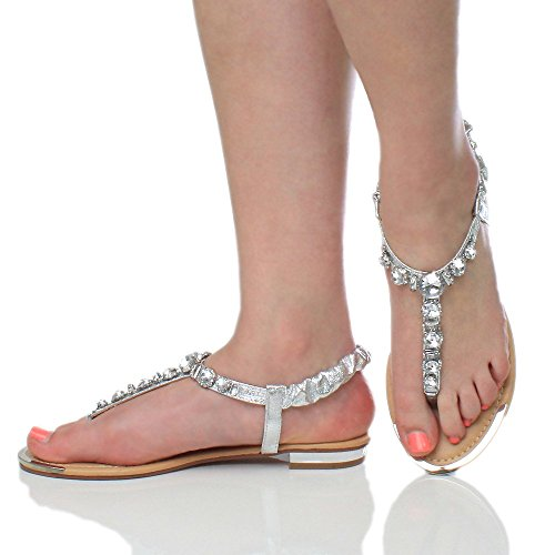 Argent tongs salomé pointure bas talon gemme Femmes sandale bride escarpin arrière SC1qvAP