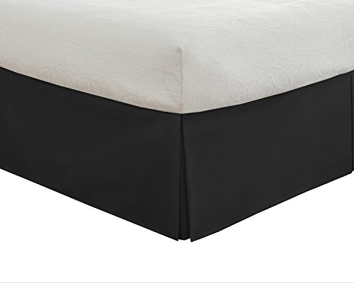 "Lux Hotel Bedding Tailored Bed Skirt, Classic 14"" Drop Length, Pleated Styling, Queen, Black - Black Tailored Bedskirt"