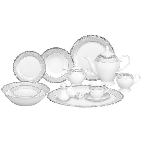 Lorren Home Trends 57-Piece Porcelain Dinnerware Set, Alina-SL, Service for 8 For Sale