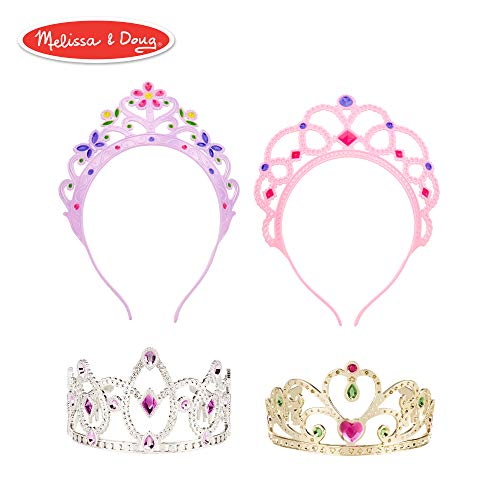 (Melissa & Doug Role-Play Collection Crown Jewels Tiaras, Pretend Play, Durable Construction, 4 Dress-Up Tiaras and Crowns, 12