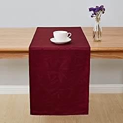 Deconovo Jacquard Damask Table Runner Wrinkle and Water Resistant Spill-Proof Decorative Dining and Wedding Runners with Bamboo Leaves Patterns 14 x 72 inch Burgundy
