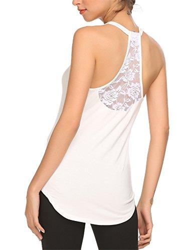 - Mofavor Women's Sleeveless Crochet Lace Shirt Camisole Vest Racerback Tank Top