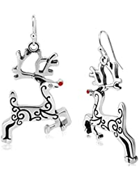 Christmas Vintage Reindeer CZ Piercing Dangle Earrings Plated Women Girls Holiday Jewelry Gift