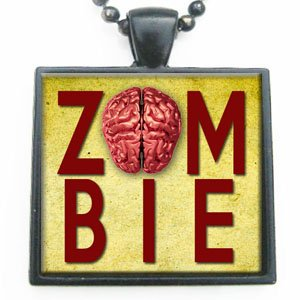 Funny Zombie Sign with Brain Glass Tile Pendant Necklace Black Tile Pendant and Tray