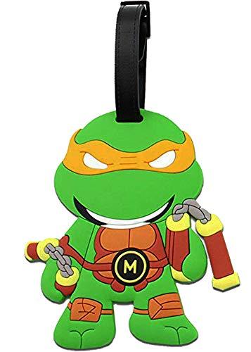 Teenage Mutant Ninja Turtles Luggage Tag Baggage Tags Id Name Card Suitcase Travel Tag (Orange - Michelangelo)