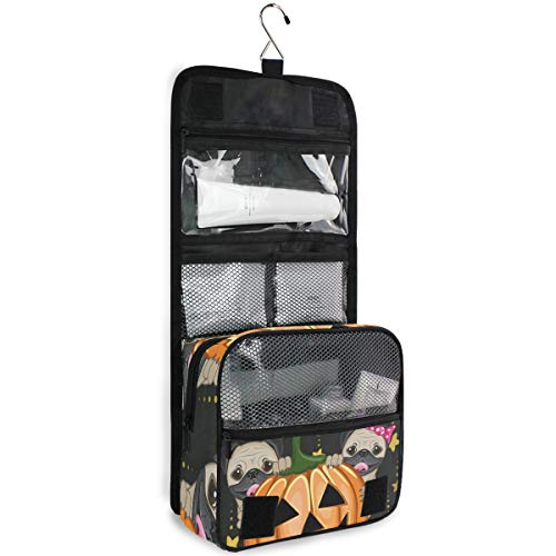 DEZIRO Makeup Bag Travel Cosmetic Bag Halloween Dogs With Pumpkin Cute Storage Bag for Women with Hook Wall Hanging Bag -