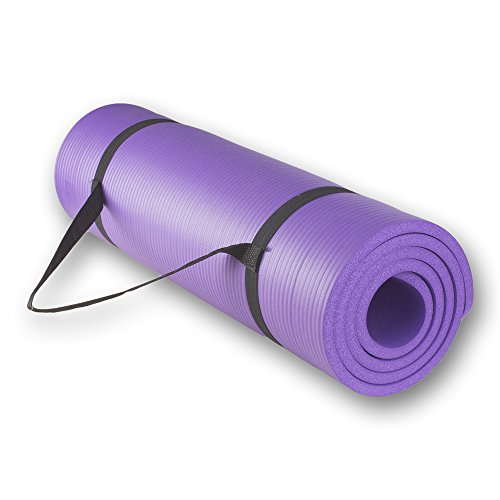Yoga Mat with Carrying Strap for All-Purpose 1/2-Inch Extra Thick High Density Anti-Tear Exercise(Purple)