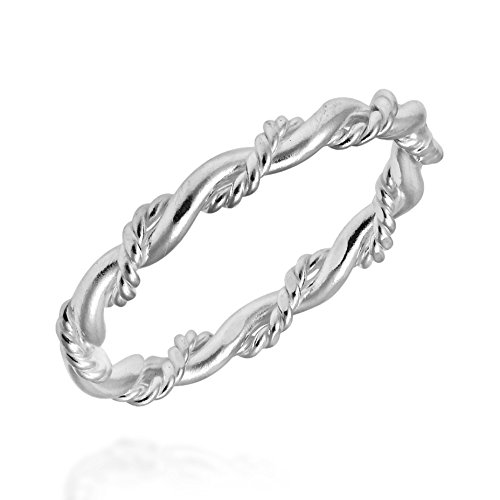AeraVida Intricate Braid Stackable Band .925 Sterling Silver Ring (7)