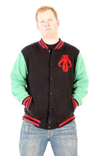 Star Wars Boba Fett Logo Adult Black Varsity Jacket (Adult X-Large)