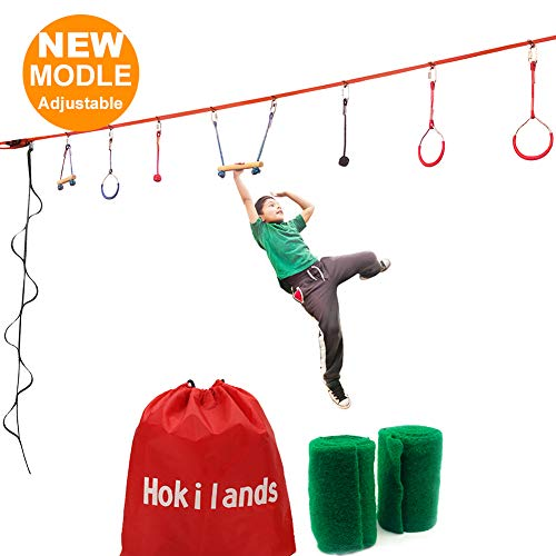 Why Choose 45 Foot Ninja Warrior Training Equipment For Kids Teens +Climbing Rope Ladder, 8 Hanging ...