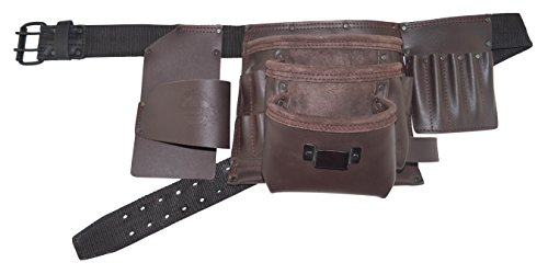 Graintex EL2161 18 Pocket Professional Oil Tanned Leather Electrician's Apron with 2'' Leather/Webbing Belt Double Needle Roller Buckle by Graintex
