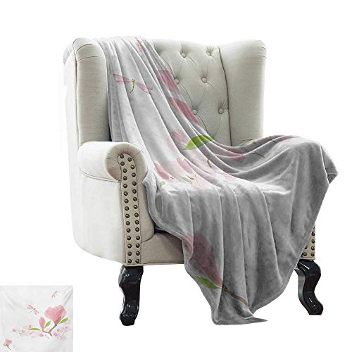 (BelleAckerman Velvet Touch Ultra Plush Dragonfly,Magnolia Branches and Leaves in Soft Tones Romance in Spring Concept,Pale Pink Lime Green Soft, Fuzzy, Cozy, Lightweight Blankets 60