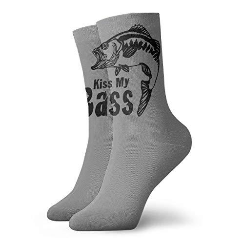 YUANSHAN Socks Fish Cartoon Kiss My Bass Women & Men Socks Soccer Sock Sport Tube Stockings Length 11.8Inch ()