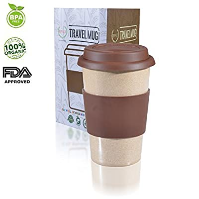 16oz 100% Organic Eco Friendly Reusable Travel Mug, To Go Takeaway Coffee Cup Brown, Biodegradable Material FDA Approved BPA Free, Leak Proof Silicone Lid & Heat Resistant Grip.Free Recipe ebook
