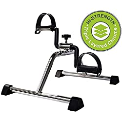 Vaunn Medical Pedal Exerciser Chrome Frame (Fully Assembled Exercise Peddler, no Tools Required)
