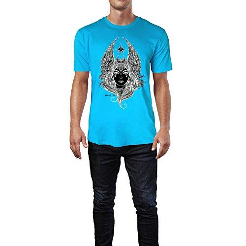 SINUS ART® Handgezeichnete Frau mit Flügeln und Stern Herren T-Shirts in Karibik blau Cooles Fun Shirt mit tollen Aufdruck