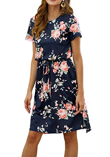 Kesujin Casual Floral Dresses for Women Short Sleeve Wear to Work Business Office Party Sheath Belted Dress for Women(Deepblue Floral, Tag XL (US 14))