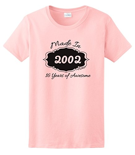 Sweet Sixteen Birthday Party Supplies 16th Birthday Gifts Made 2002 16 Years of Awesome Ladies T-Shirt Medium Light Pink