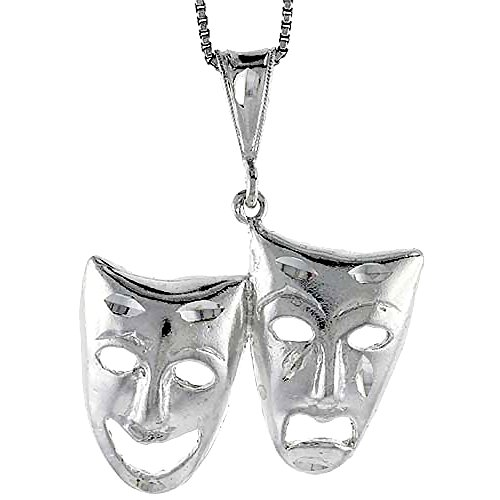 Sterling Silver Large Drama Masks Pendant, 1 inch Tall