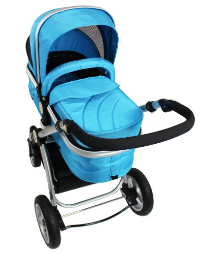 i-Safe System + iSOFIX Base - Ocean Trio Travel System Pram & Luxury Stroller 3 in 1 Complete with Car Seat + Footmuff + Carseat Footmuff + RainCovers