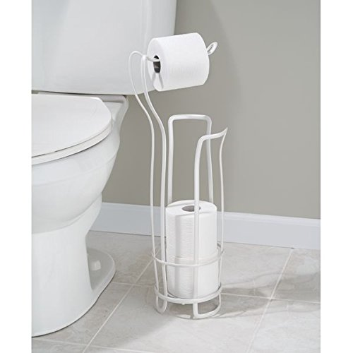 Mdesign Free Standing Toilet Paper Holder For Bathroom Pearl White Home Garden Accessories Holders