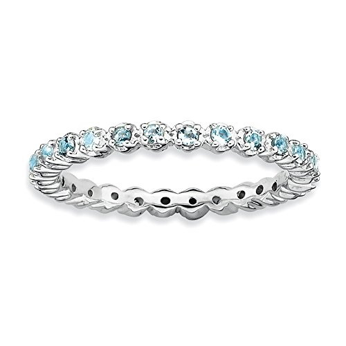 Stackable Expressions Sterling Silver Simulated Aquamarine Ring - Size 9 from Stackable Expressions