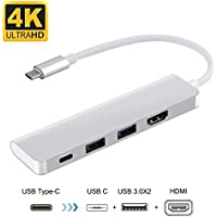 USB C to HDMI 4K Adapter for Nintendo Switch, USB Type C Hub for Samsung DeX Station, Desktop Experience for Galaxy Note8,S8,S8+, MacBook Pro 2016 2017 with Power Delivery Charging+2 USB 3.0 Port