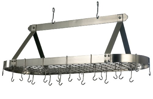 Old Dutch Oval Hanging Pot Rack with Grid & 24 Hooks, Satin Nickel, 48 x 19 x 15.5 ()