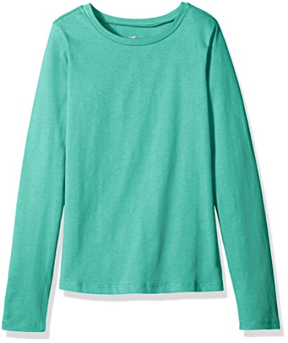 Scout + Ro Big Girls' Long-Sleeve Basic Crew-Neck T-Shirt, Pool Green, 8 by Scout + Ro
