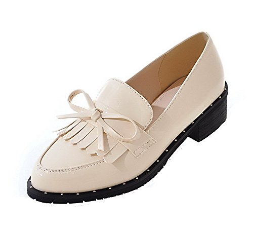 heels Women's Odomolor Solid Pointed Leather Low Beige Patent shoes Closed Pumps Toe 0BSBwq6