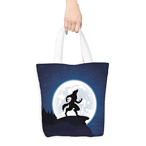 (Wolf Tote Full Moon Night Sky Growling Werewolf Mythical Creature in Woods Halloween boutique 16.5
