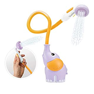 Yookidoo Baby Bath Shower Head - Elephant Water Pump and Trunk Spout Rinser - for Newborn Babies in Tub Or Sink (Purple)