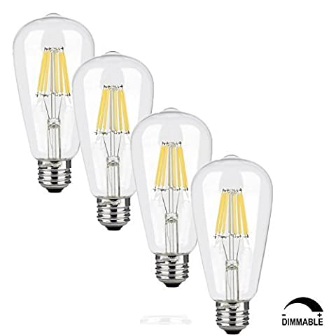 SooFoo E27 LED Vintage Filament Lighting Bulb, Retro Edison LED Style, 6w to Replace 60w Incandescent Bulb Bulb, Soft White, Dimmable , For Restaurant, Living Room, Reading (60w Led Edison Bulb)