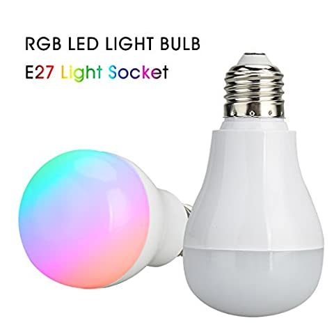 Multi Color LED Light Bulb RGB RF 2.4G Remote Control Bulb Smart Light Dimmable Color Changing Ball Timer Bulb E27 Lamp 360°Beam Angle 5W 420lm Bulb for Party/Bar/Wedding/Home Decoration by (Y Flicker A1)