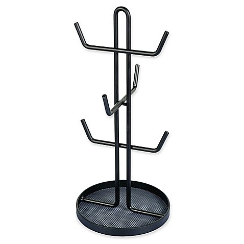 SALT Metal Wire Mug Tree Organizer, Holds Up to 6 Mugs, Strong and Long Lasting in Matte Black Finish