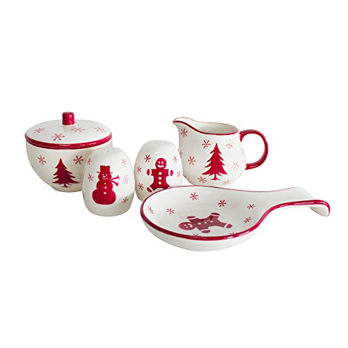 Euro Ceramica Winterfest Collection Festive Ceramic Tableware Necessities, 4 Piece Completer Set, Assorted Hand-Stamped Holiday Designs, Red & White