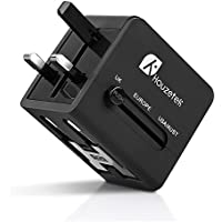 Houzetek All in One Universal Travel Charger AC Adapter with Dual USB Port