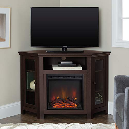 We Furniture 48 Corner Tv Stand Fireplace Console Espresso